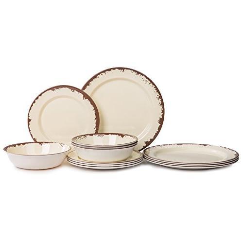 Dinnerware Set - Melamine 12 Dinner Dishes Camping Use, Safe