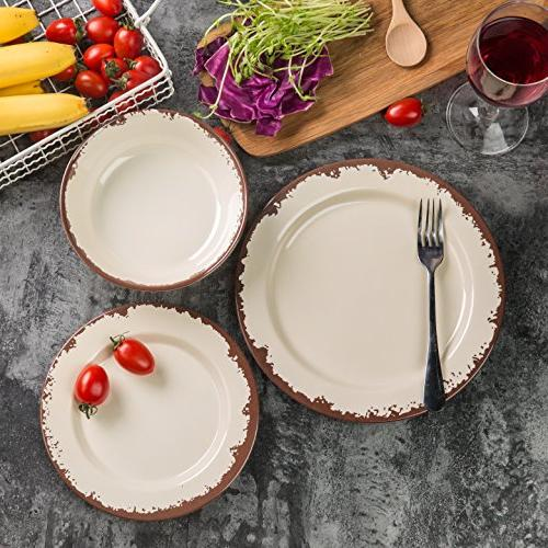 Dinnerware 4 Dinner Dishes Set for Camping Use, Dishwasher