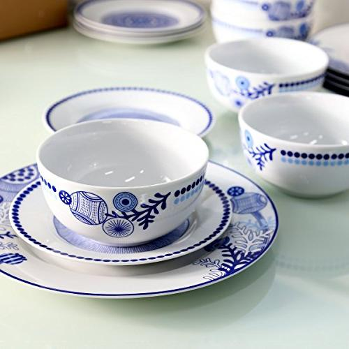 Dinnerware 18-Piece and Sets Dinner Service for Kitchen Simple lace and True Blue