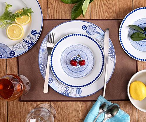 Dinnerware Set for 18-Piece and Bowls Sets Dishes Service for Simple lace and Blue