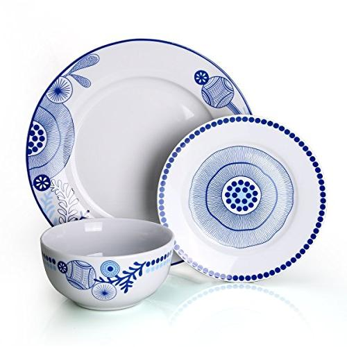Dinnerware 18-Piece Sets Dinner Plate Service for Blue