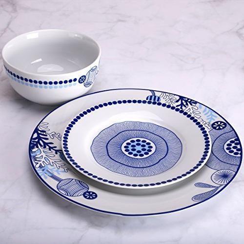 Dinnerware 18-Piece Plates Bowls Sets Dinner Plate Service 6 Simple Blue