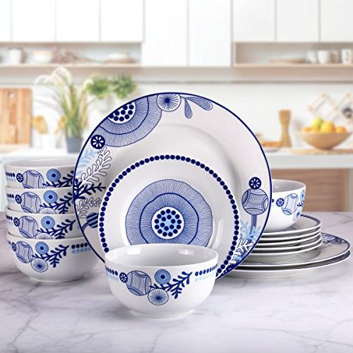 Dinnerware Set 18-Piece Sets Dinner Service 6 Simple and Blue