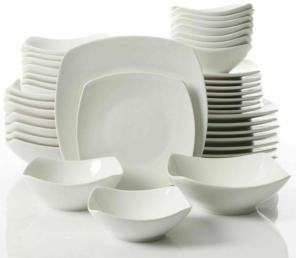 Dinnerware Set Ceramic Soft Square Silhouette, Microwave Saf