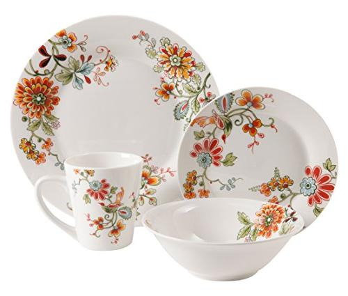 16pc Dinnerware Set Floral Dinnerware Plates Bowls Mugs Whit