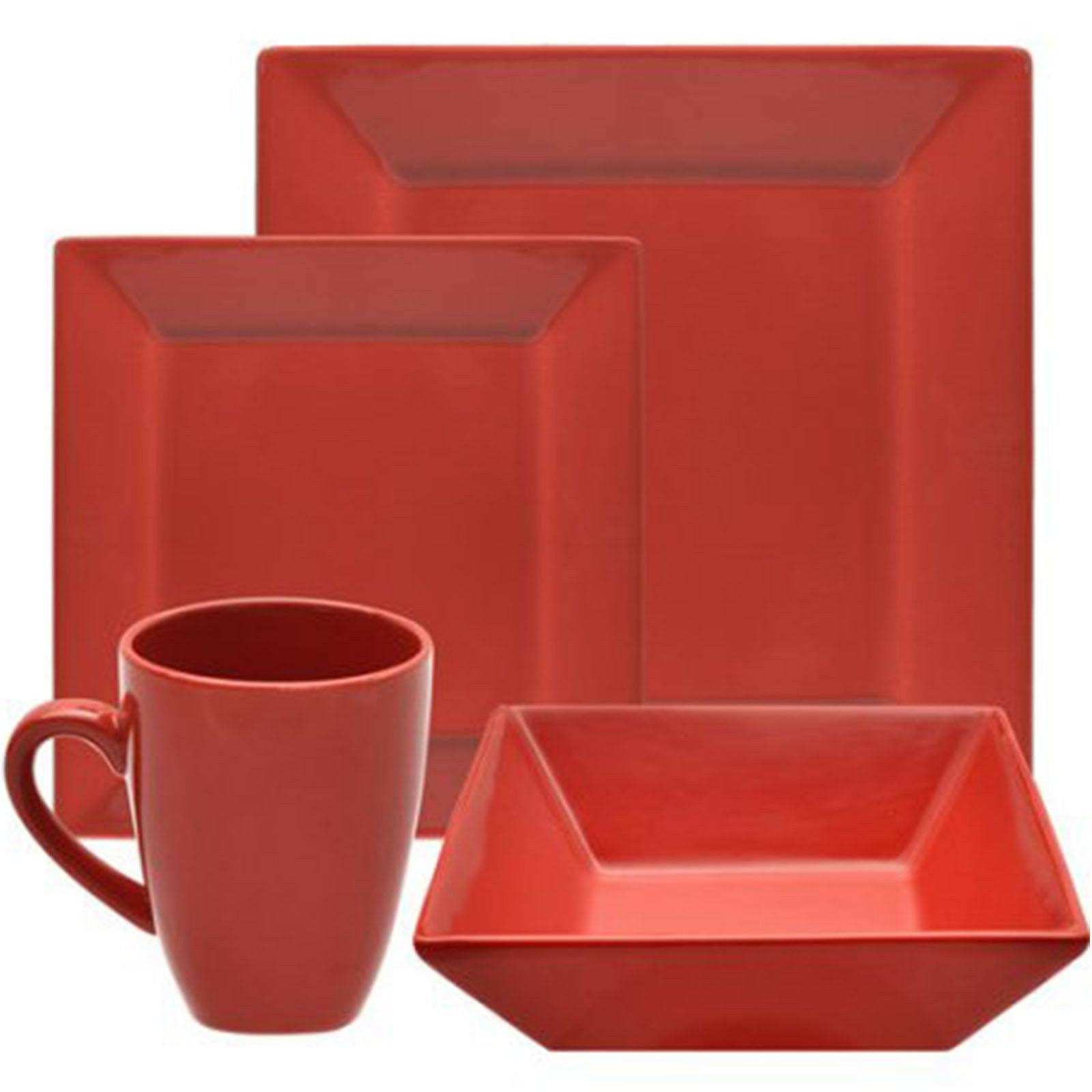 Dinnerware Set Square 16-Piece Dishes Bowls Dinner