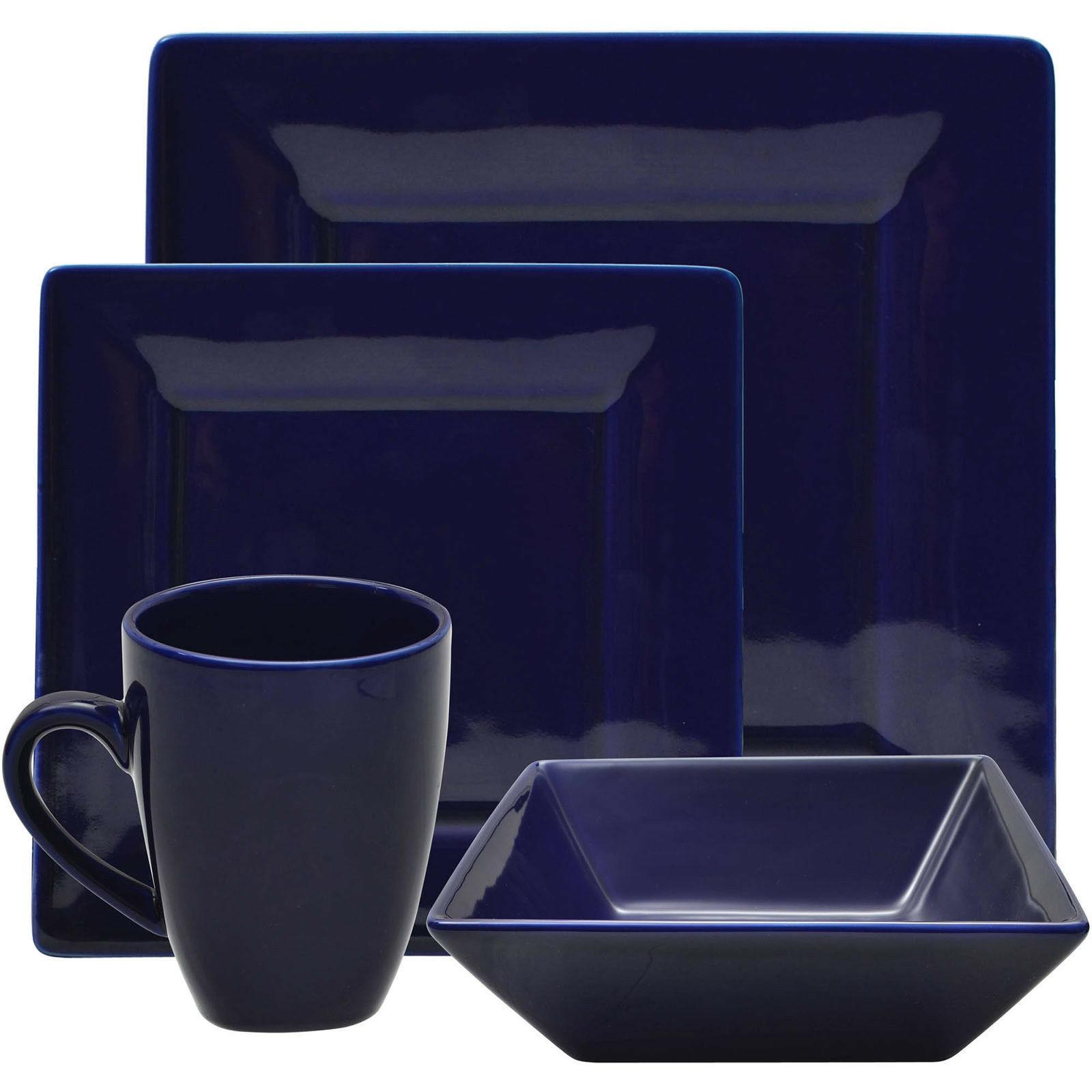 Dinnerware Set Square 16-Piece Porcelain Dishes Bowls