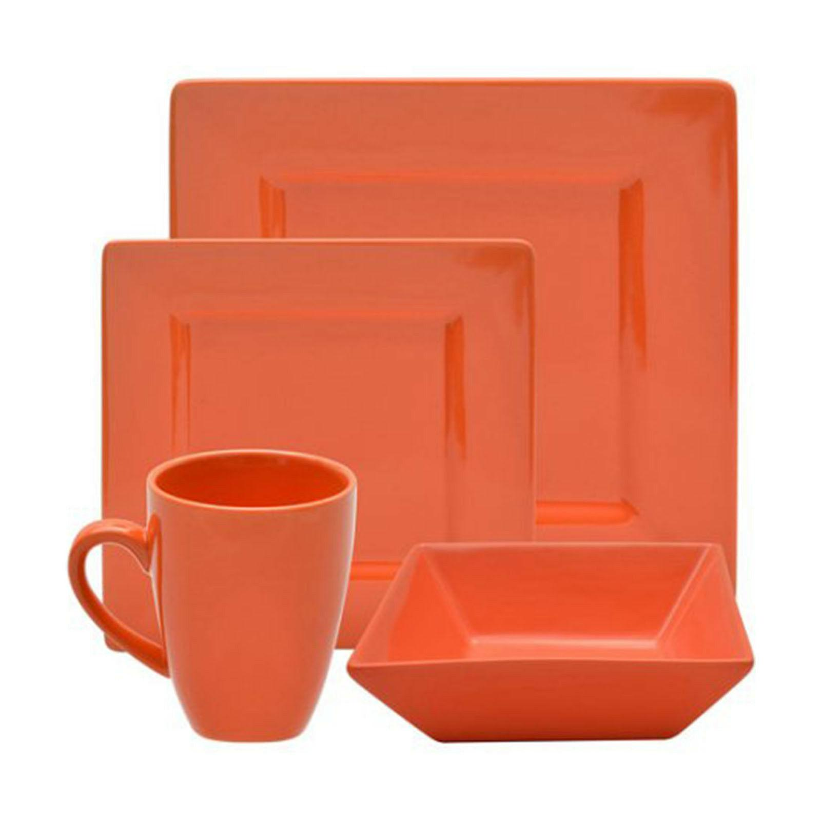 Dinnerware Set Square 16-Piece Dishes Bowls