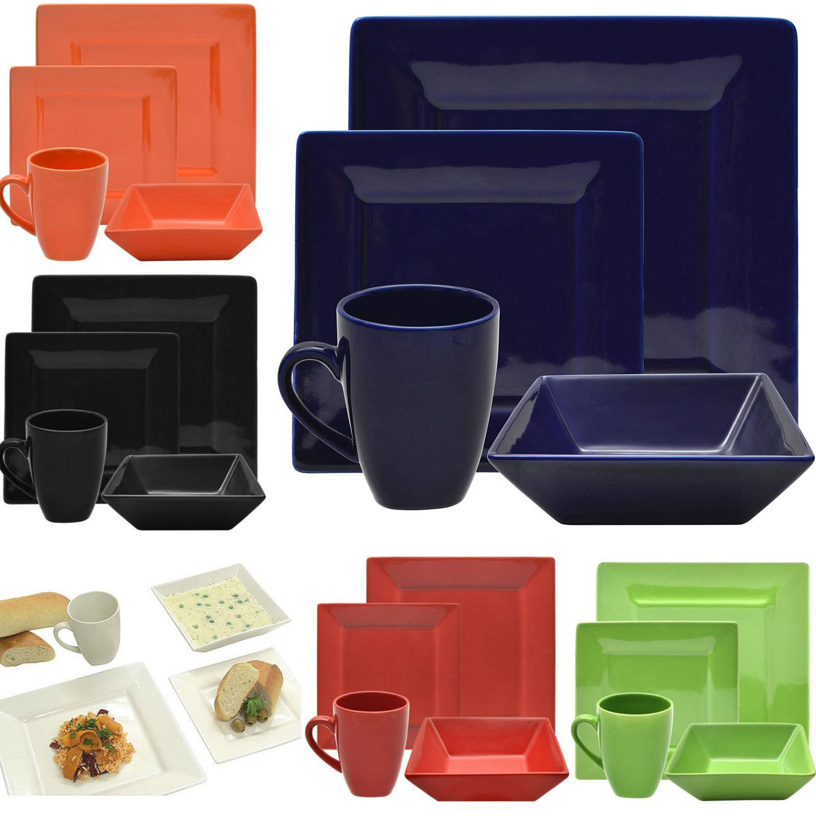 dinnerware set for 4 square 16 piece
