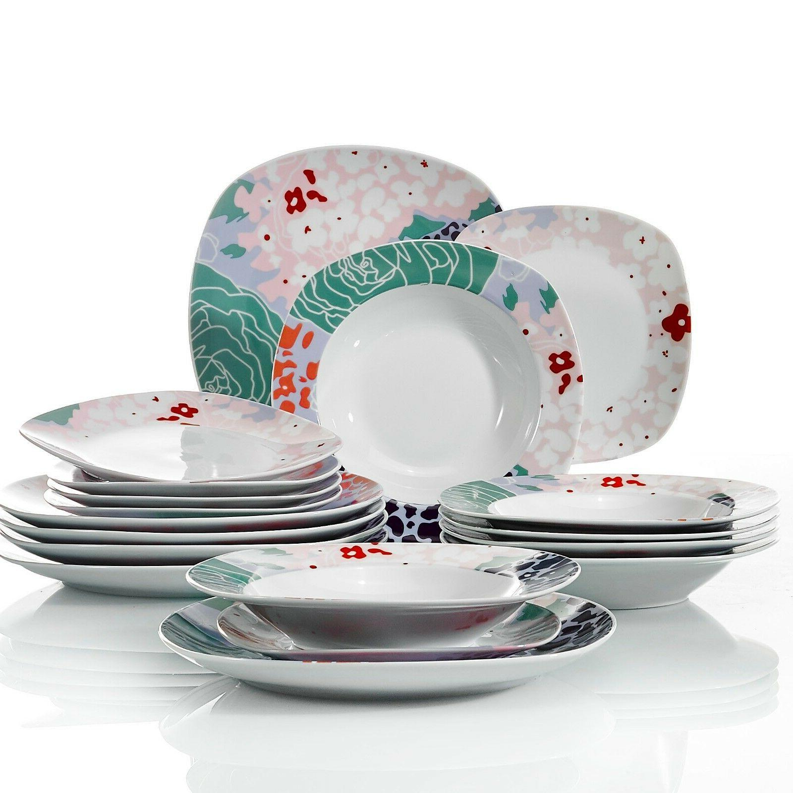 VEWEET Dinnerware Set color Patterns Kitchen Plate Sets