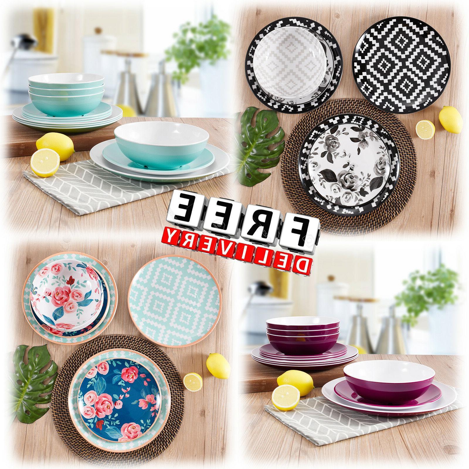 Dinnerware Set Round Melamine Service 12/24 Piece  Dinner Pl