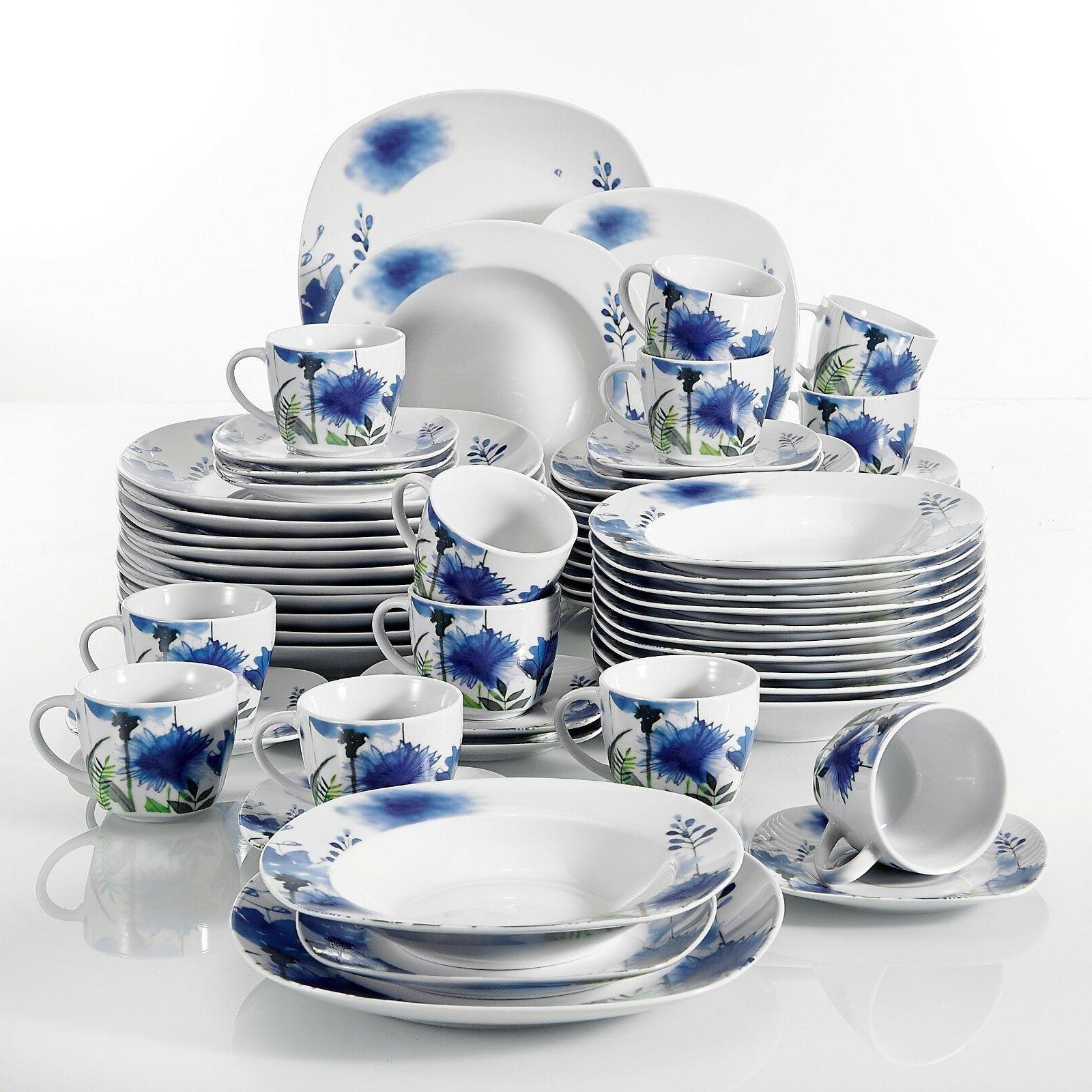 VEWEET Dinnerware Set Royal Flower Set Kitchen Sets