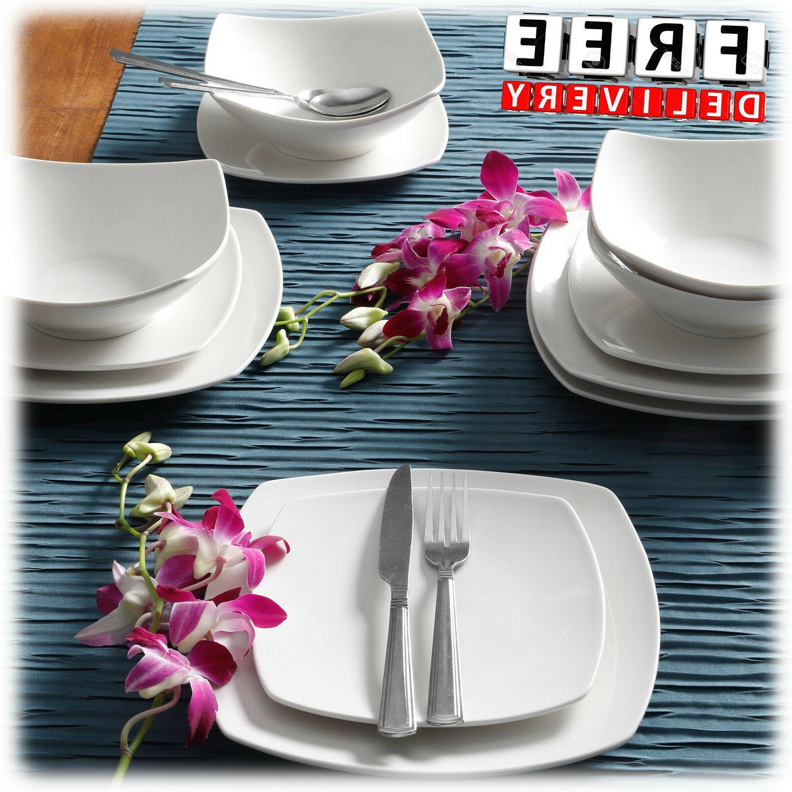 Dinnerware Set Square Ceramic Banquet 24 Piece White Dinner