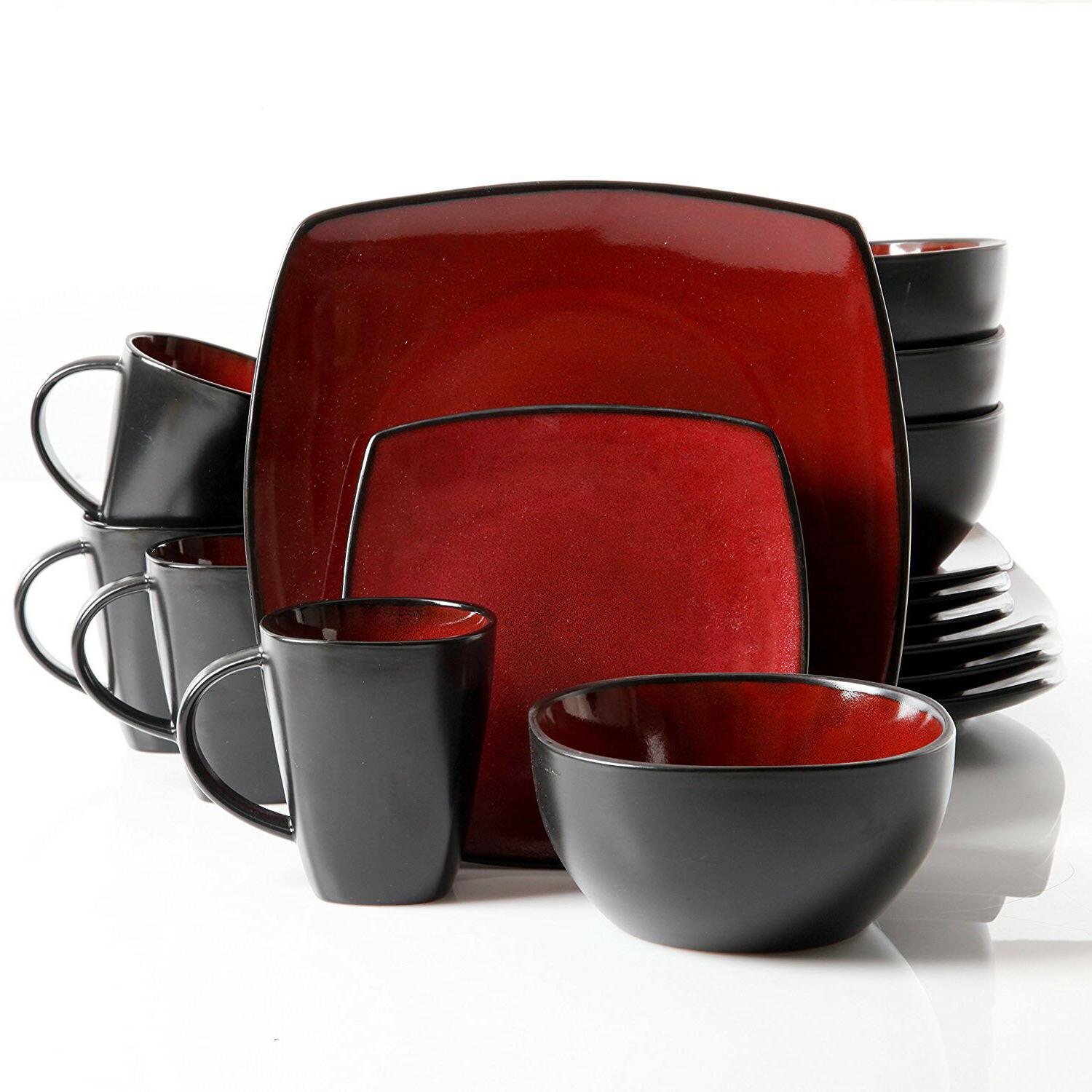 Dinnerware Square Plates Mugs Dishes Home Kitchen Red