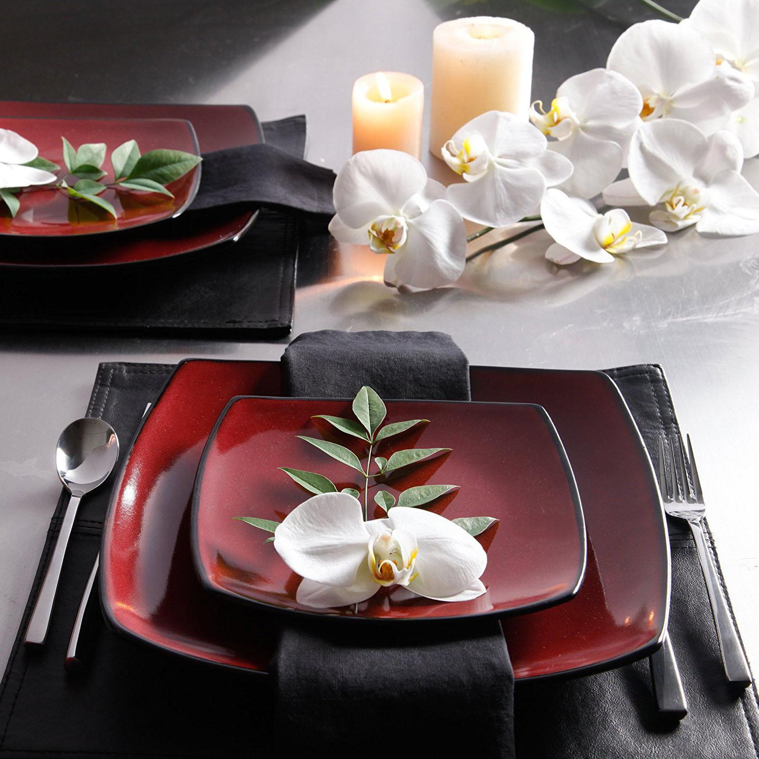 Dinnerware Square Plates Dishes Home 16 Red