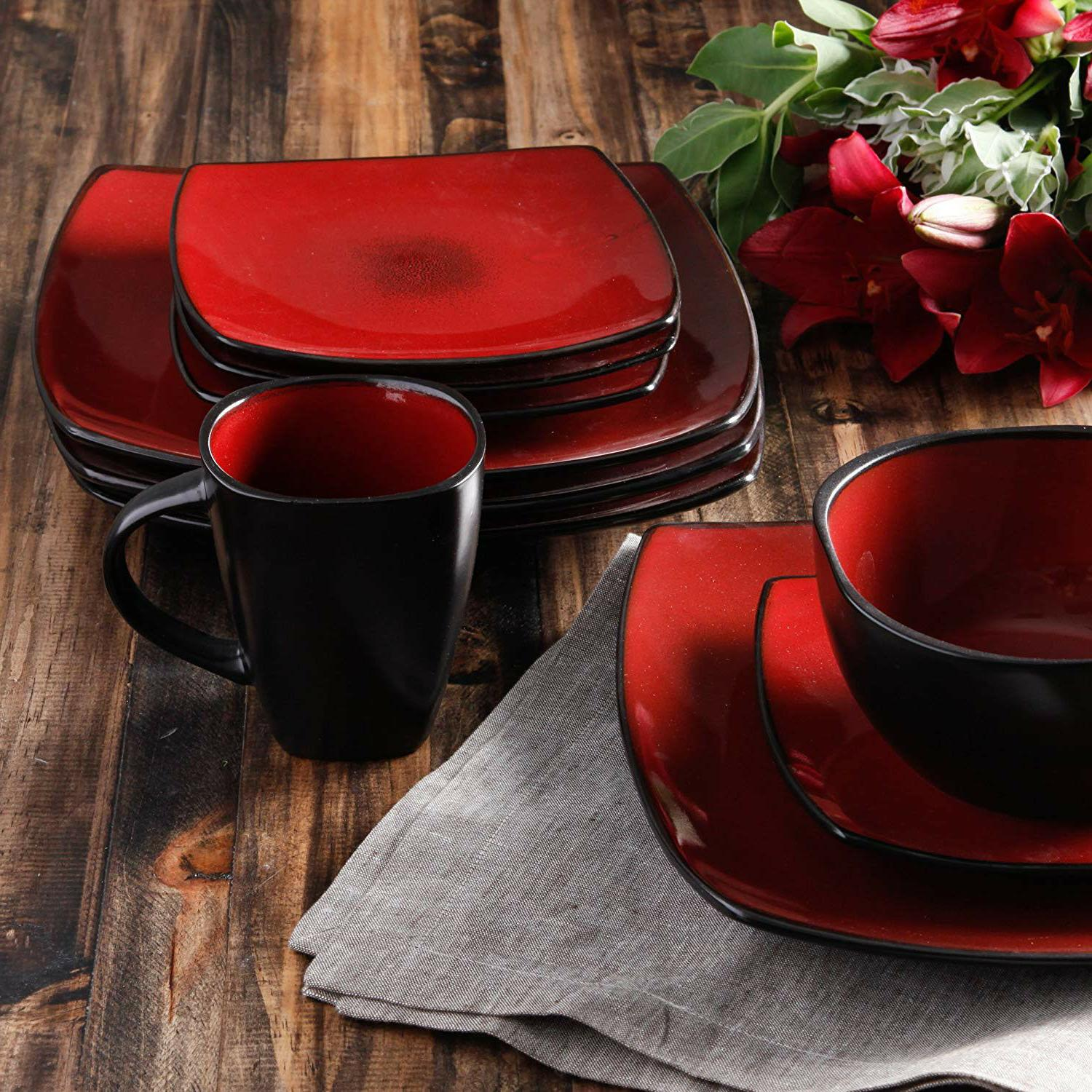 Dinnerware Square Plates Dishes Home Kitchen 16 Red