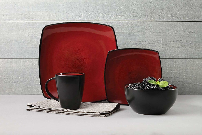 Dinnerware Set Modern Square Reactive Glaze in 16 pc. 4 setting