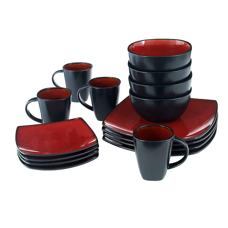 Dinnerware Set Square Reactive Red/Black setting
