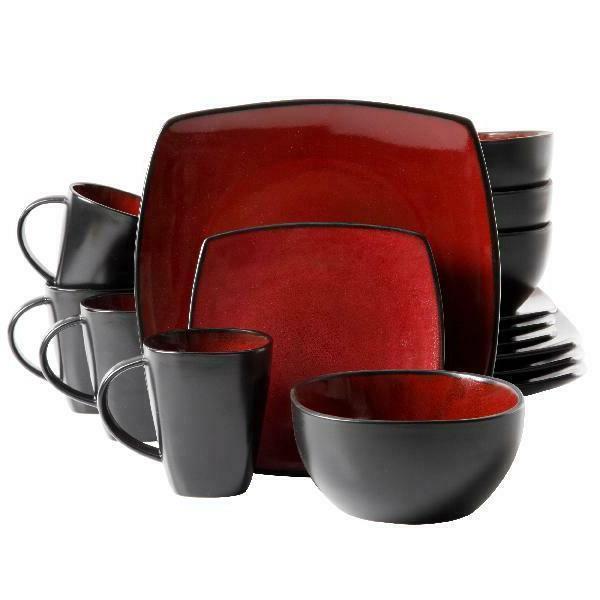 16-piece Dinnerware Set - Gibson Home Soho Lounge - Red Squa