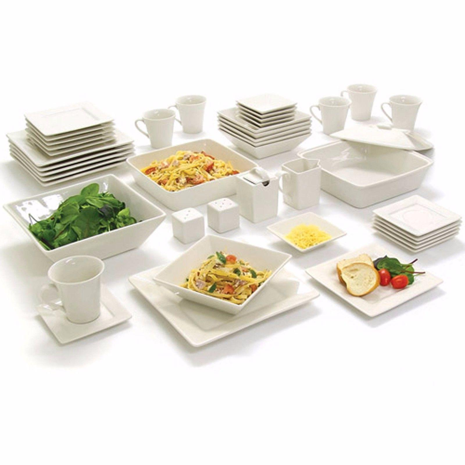 Dinnerware Set Square Banquet 45 Piece Plates Cups