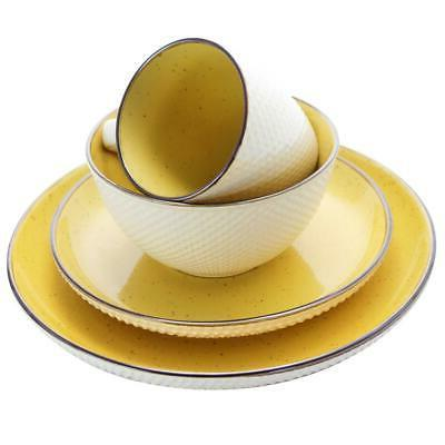 Dinnerware Swirling Dishwasher Microwave Yellow
