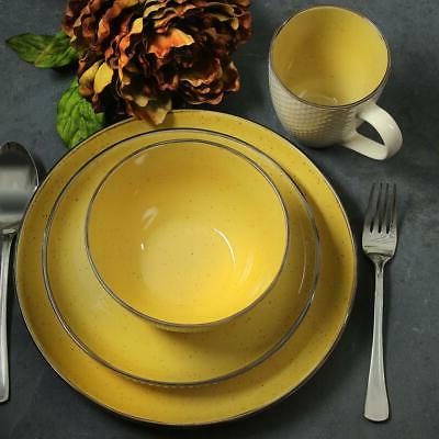 Dinnerware Set Swirling Pattern, Dishwasher Yellow