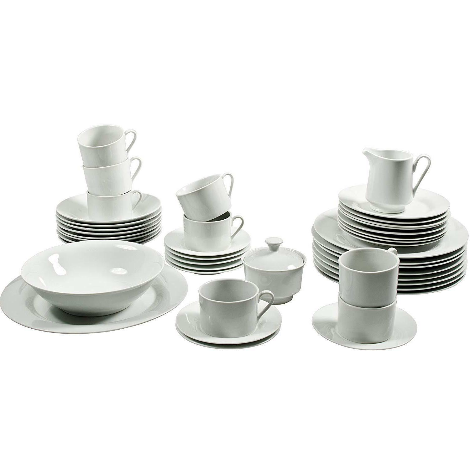 Dinnerware Set White Round Kitchen Banquet 45 Piece Dinner P