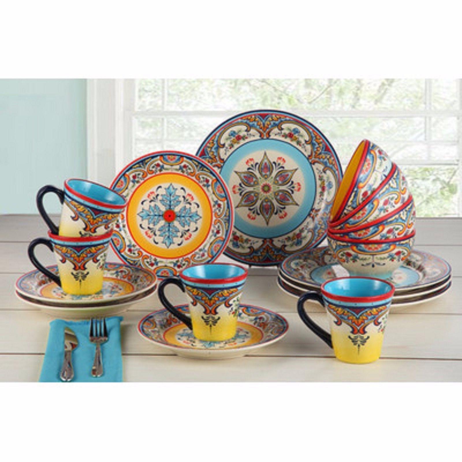 Dinnerware Set EuroCeramica Zanzibar 16 Dishes Cups Bowl