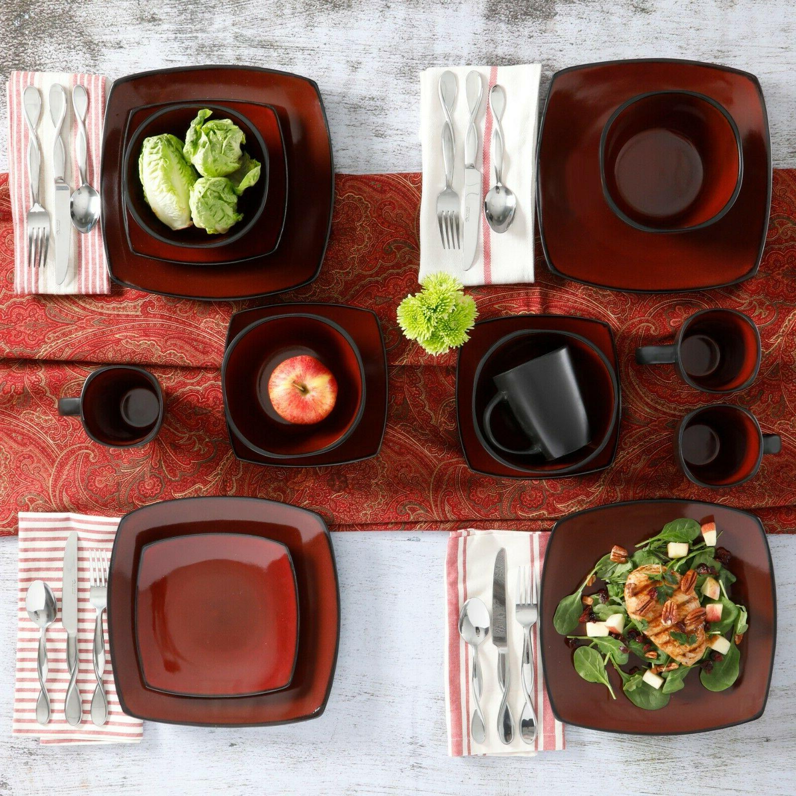 Dinnerware Sets Plates Dishes Red Stoneware New