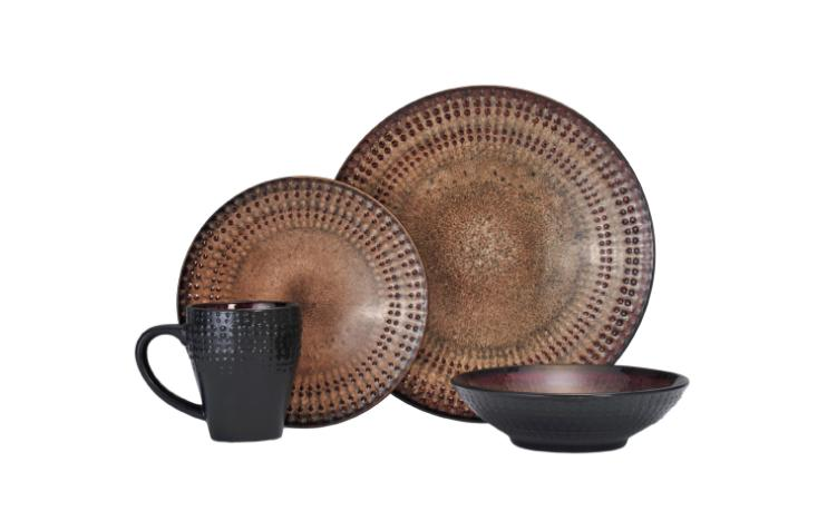 Dinnerware Sets Service for 4 Dishes Stoneware Brown Tan Din