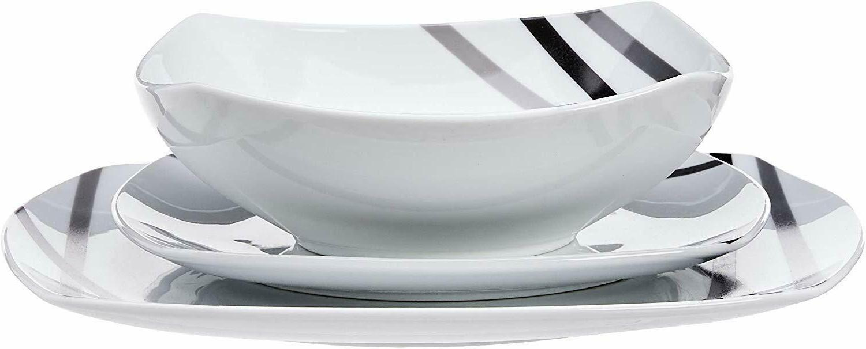 Dinnerware Square Set Plates Dishes Bowls Kitchen 18 Pcs Lounge new