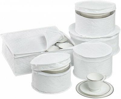 Dinnerware Storage Set 5-Piece Cushioned quilted Cases Prote