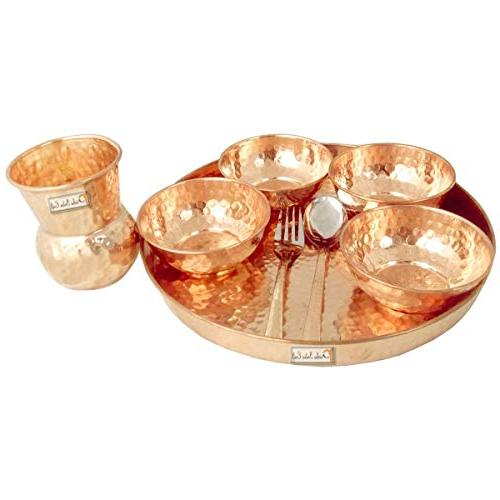 Prisha Dinnerware 100% Copper Dinner of Thali and Spoon, Dia With Pure Copper Maharaja Pitcher - Christmas Gift