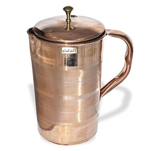 """Prisha India Set Traditional Stainless Dinner Plate, and Spoons, 13"""" 1 Luxury Pure Copper Pitcher Jug"""