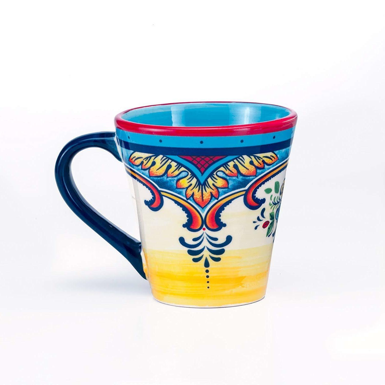 Earthenware Dishes Dinnerware Mexican Floral Design Multicolor 16Pcs Ceramic
