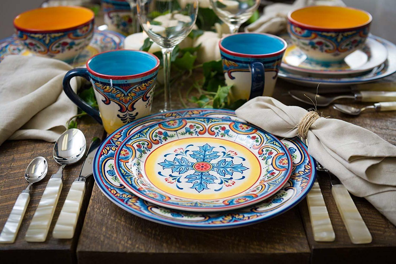 Earthenware Mexican Design Multicolor 16Pcs Ceramic