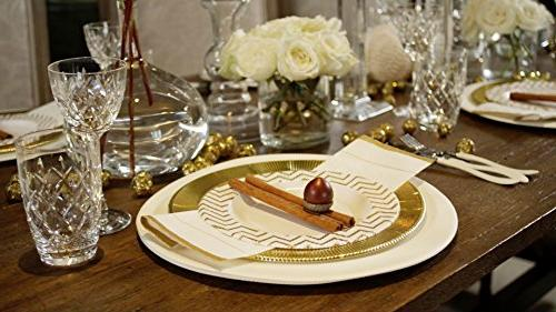 Sophistiplate Disposable Paper Plate Set, for 8 Pieces for holidays, showers, and special entertaining!