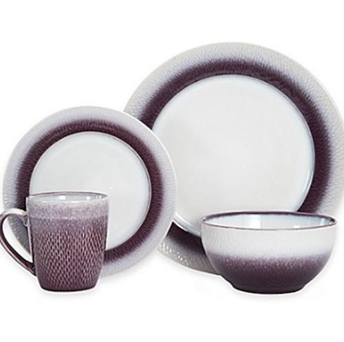 eclipse 16 piece dinnerware set stoneware plum