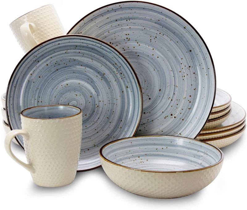 Elama Round Stoneware Luxurious Mellow Dinnerware Dish Set,