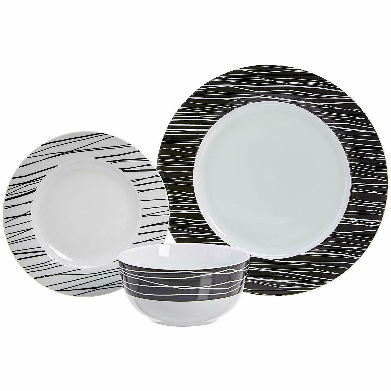 Elegant White Sketches Dinnerware Set 6 NEW