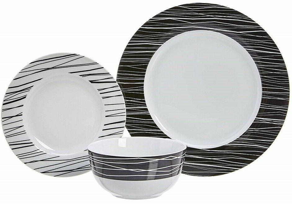 elegant porcelain black white sketches 18 piece