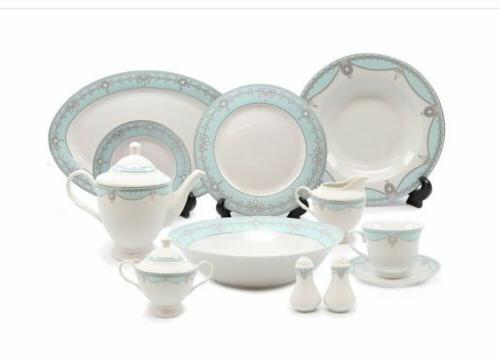 Imperial Empire Pearl Tiffany Blue 49 Pcs Dinner Set Service