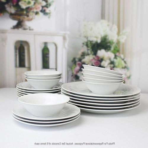 Winnsoma 18-Piece White Porcelain For With Dinner Plates, 6 Side Plates And 6 Small