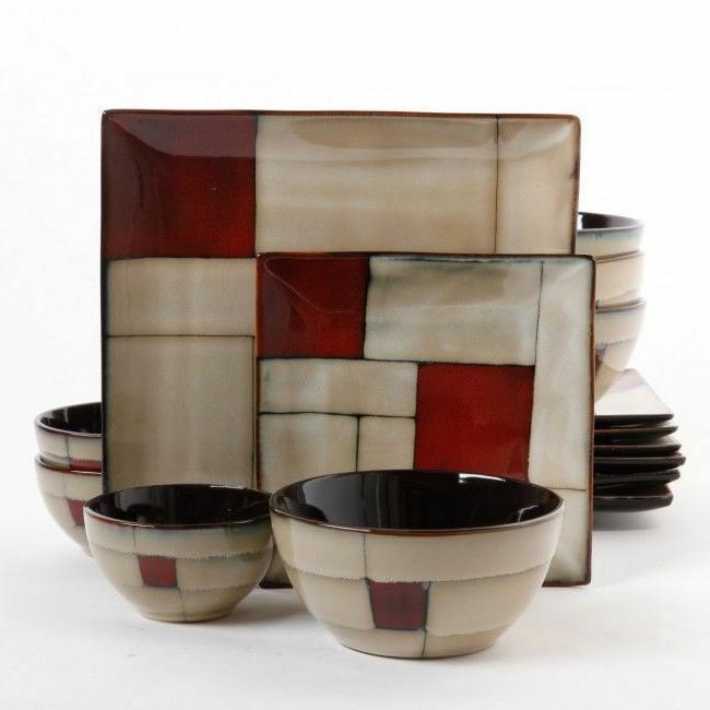 elite azeal 16 piece square stoneware double