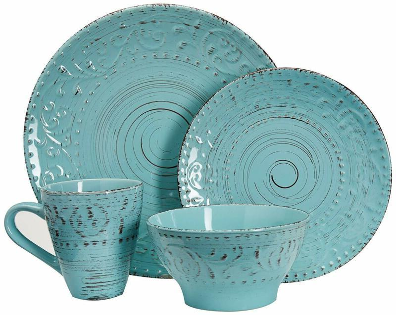 elm malibu waves 16 piece dinnerware set
