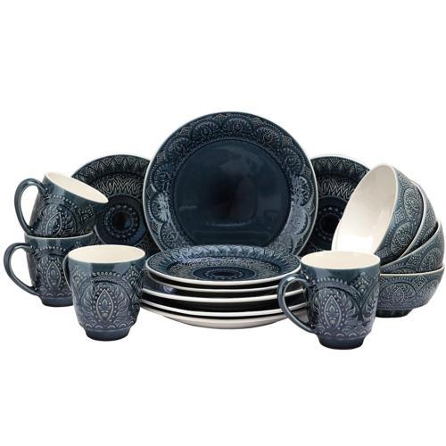 Elama Piece Stoneware Dinnerware 16pc