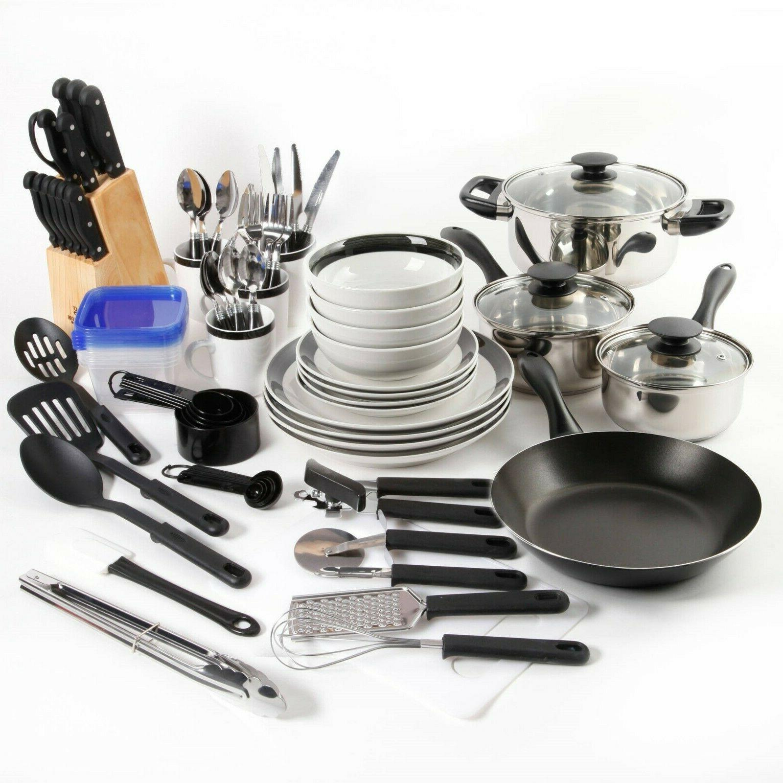 Gibson Home Kitchen In A Box 83-Piece Combo Set, Black