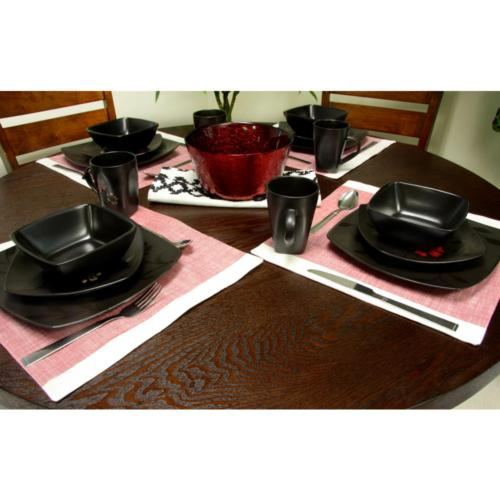 Evening Blossom Casual 16-Pcs Black Dinnerware