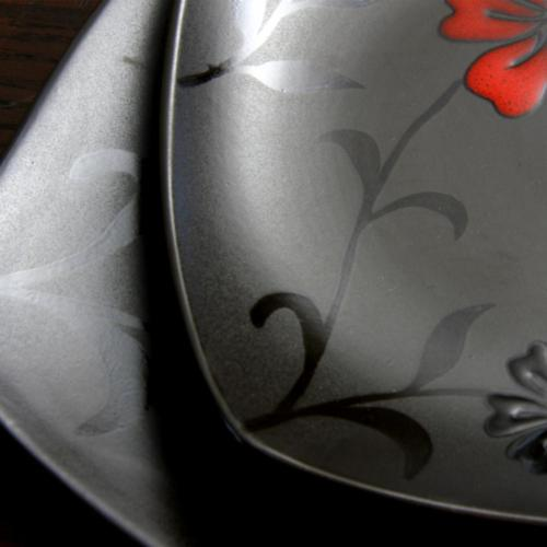 Evening Blossom Casual Black Stoneware Dinnerware Set