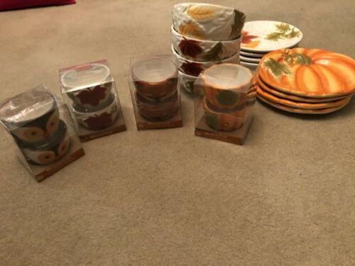 fall dinnerware set 8 plates 4 bowls